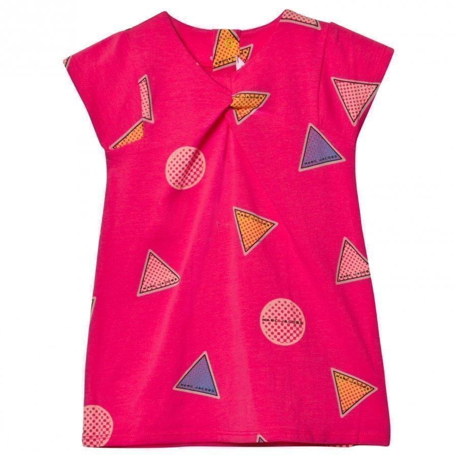 Little Marc Jacobs Pink All Over Branded Print Jersey Dress Mekko