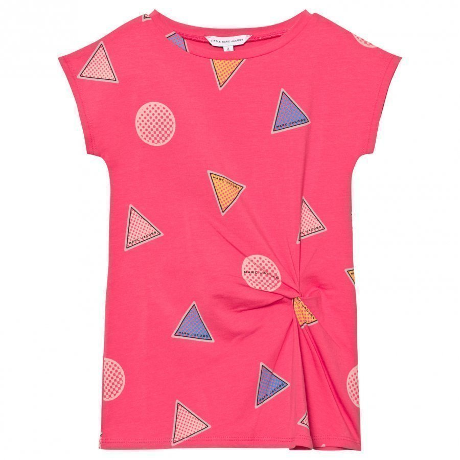 Little Marc Jacobs Pink Branded Badge Print Twist Dress Mekko