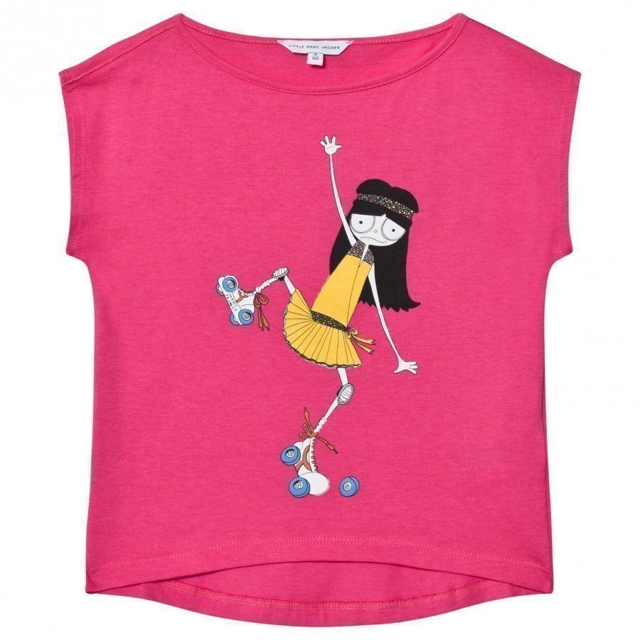 Little Marc Jacobs Pink Miss Marc Rollerskating Print Tee T-Paita