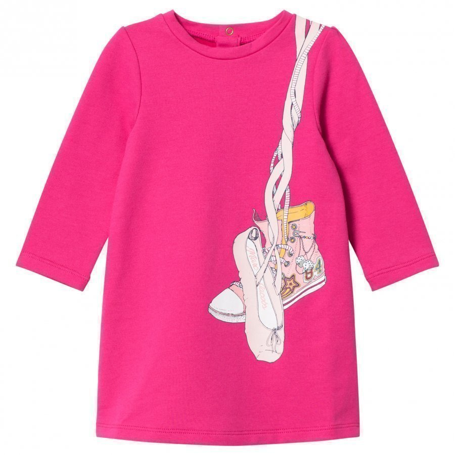 Little Marc Jacobs Pink Shoes Jersey Long-Sleeve Dress Mekko