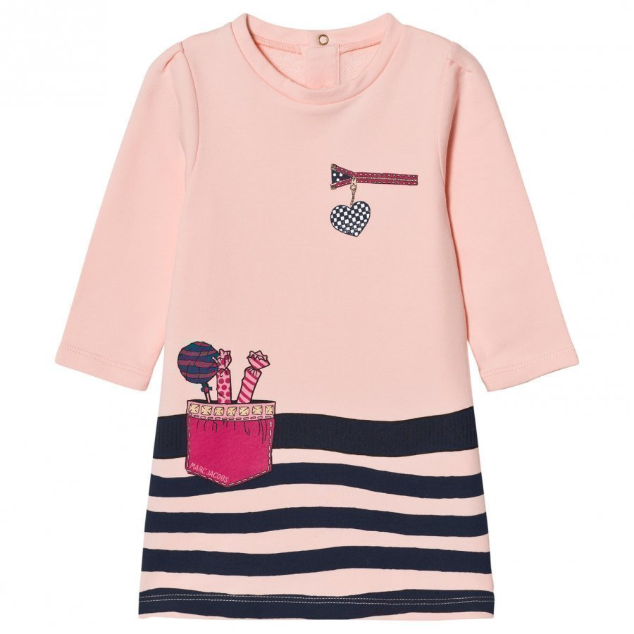 Little Marc Jacobs Pink/Navy Stripe Print Dress T-Paita