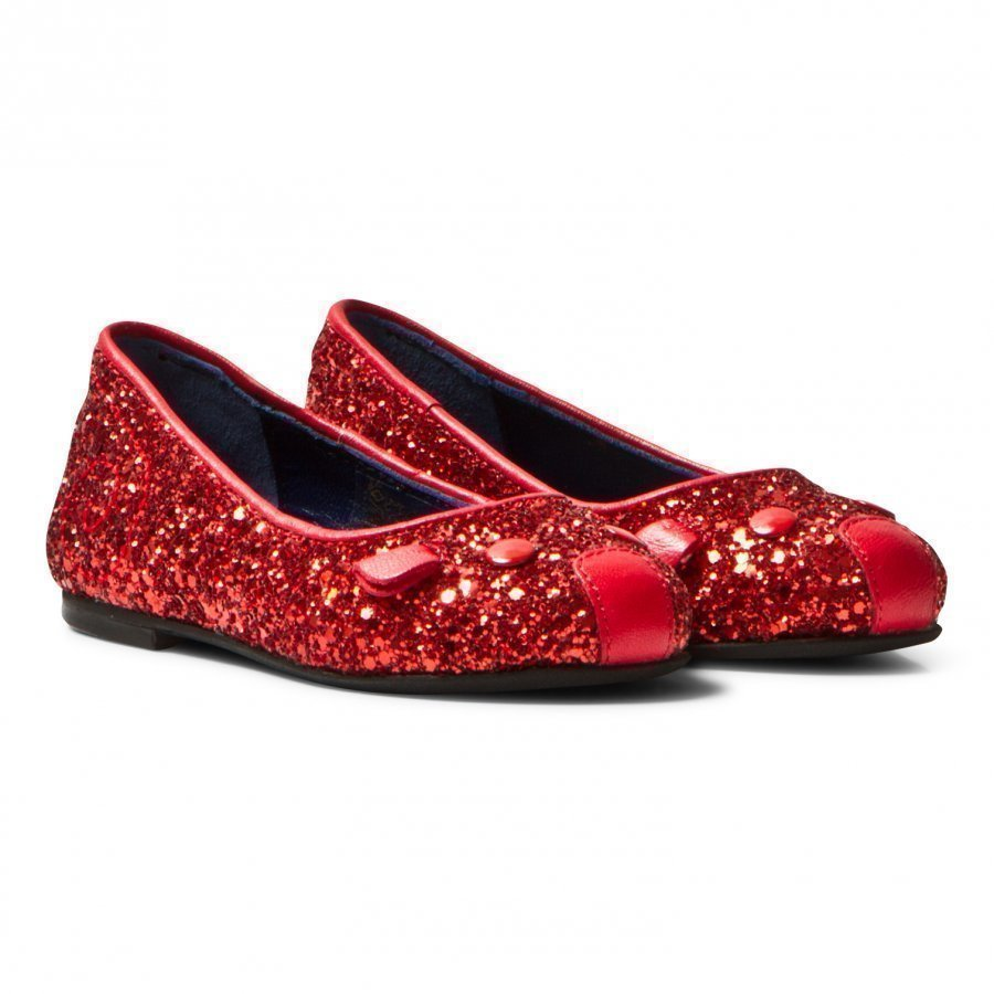 Little Marc Jacobs Red Glitter Mouse Pumps Ballerinat