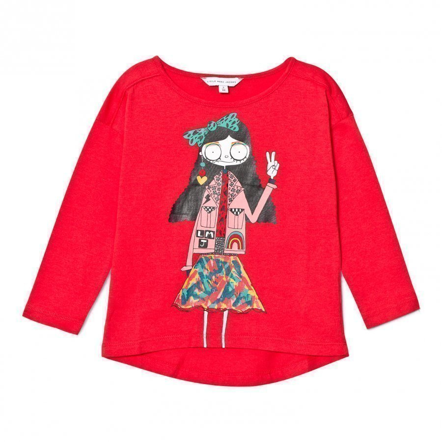 Little Marc Jacobs Red Miss Marc Print Long Sleeve Tee T-Paita
