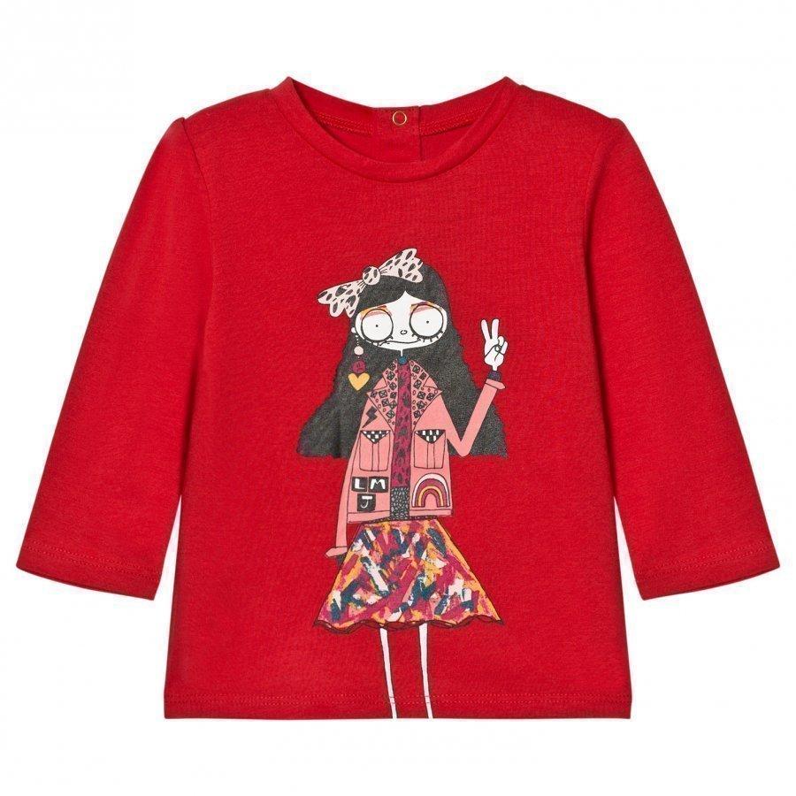Little Marc Jacobs Red Miss Marc Print Long Sleeve Tee T-Paita