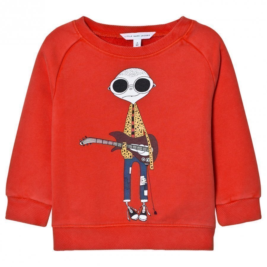 Little Marc Jacobs Red Mr Marc Guitar Print Sweatshirt Oloasun Paita
