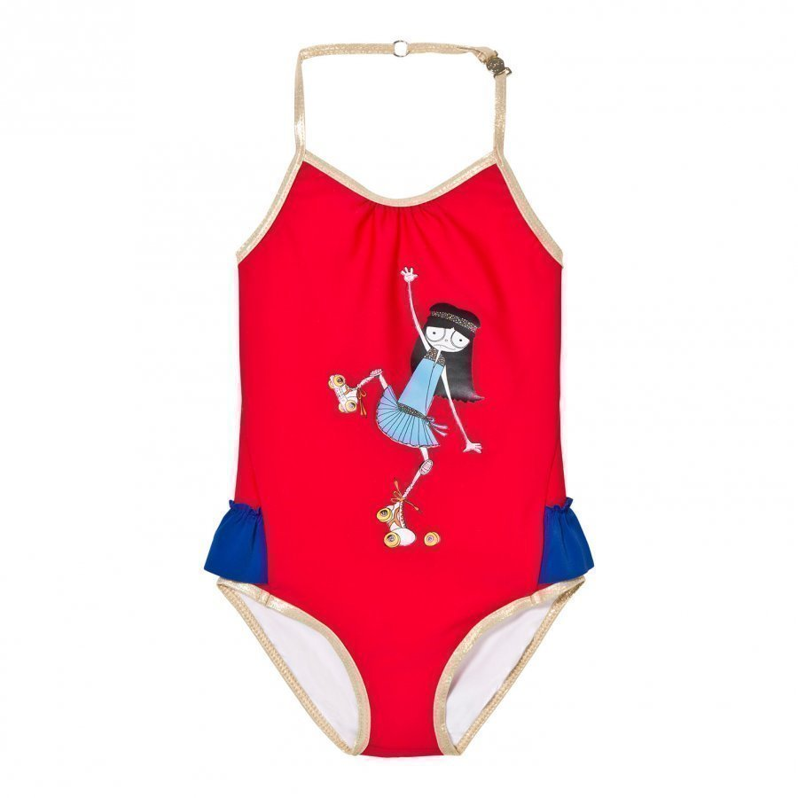 Little Marc Jacobs Red Rollerskating Frill Swimsuit Uimapuku