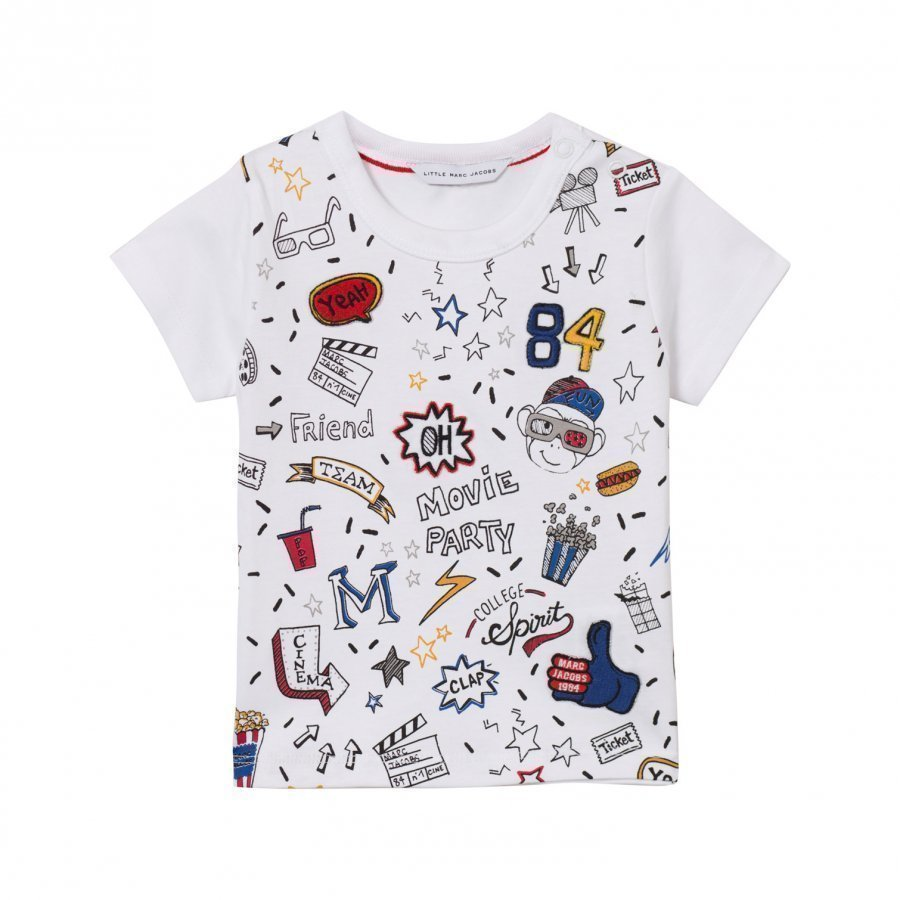 Little Marc Jacobs White All Over Print Icon Tee T-Paita