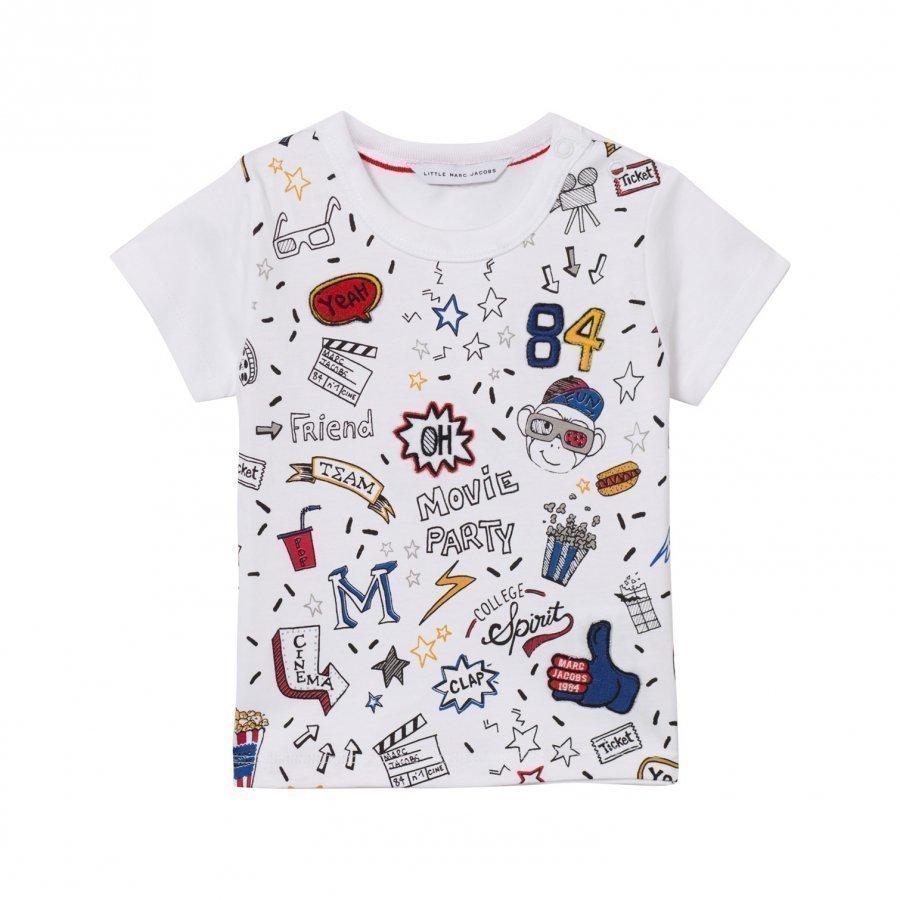 Little Marc Jacobs White All Over Print Icon Tee T-Paita