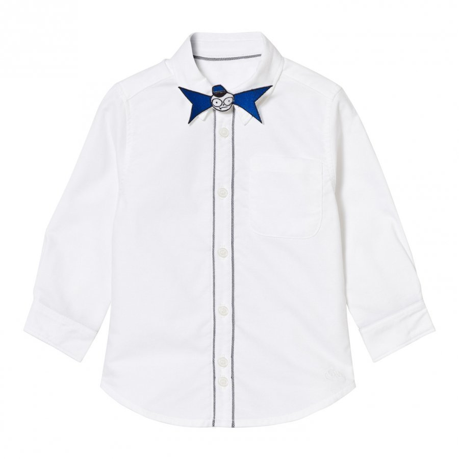 Little Marc Jacobs White Branded Shirt With Mr Marc Bow Tie Kauluspaita