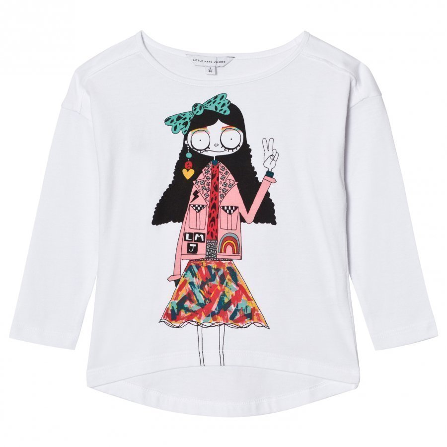 Little Marc Jacobs White Miss Marc Print Long Sleeve Tee T-Paita