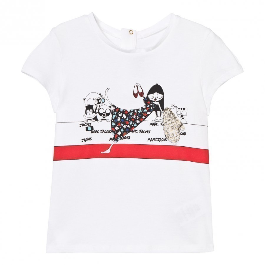 Little Marc Jacobs White Miss Marc Print Tee T-Paita