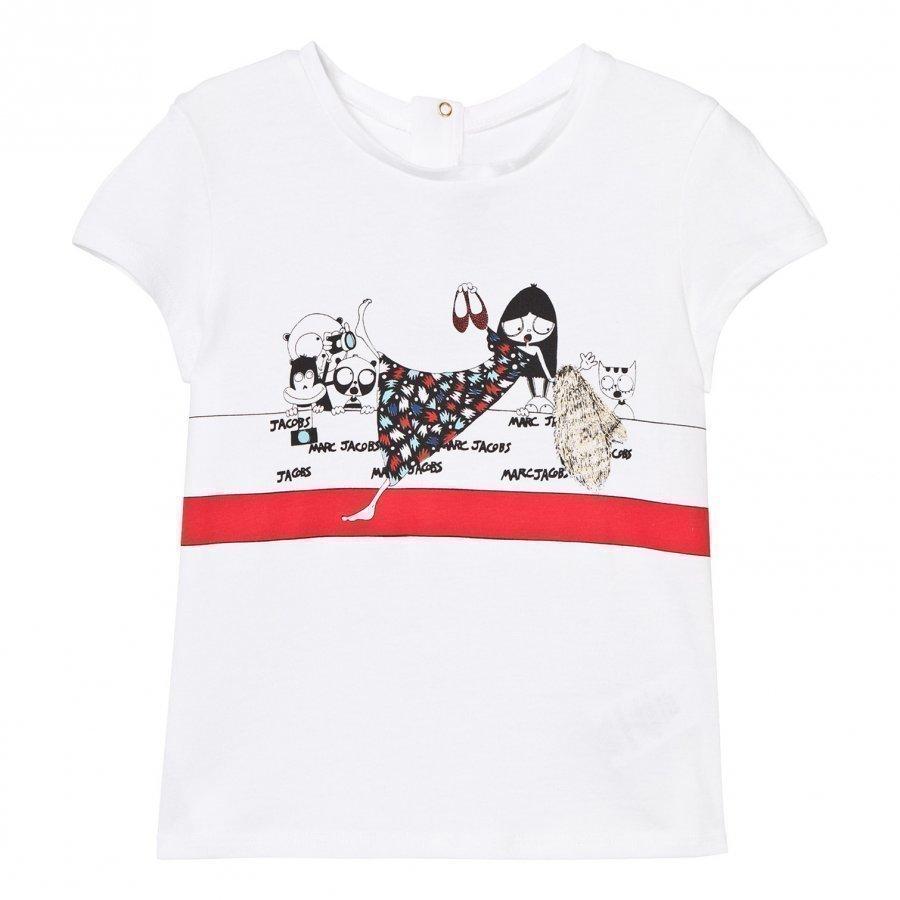Little Marc Jacobs White Miss Marc Print Tee T-Paita
