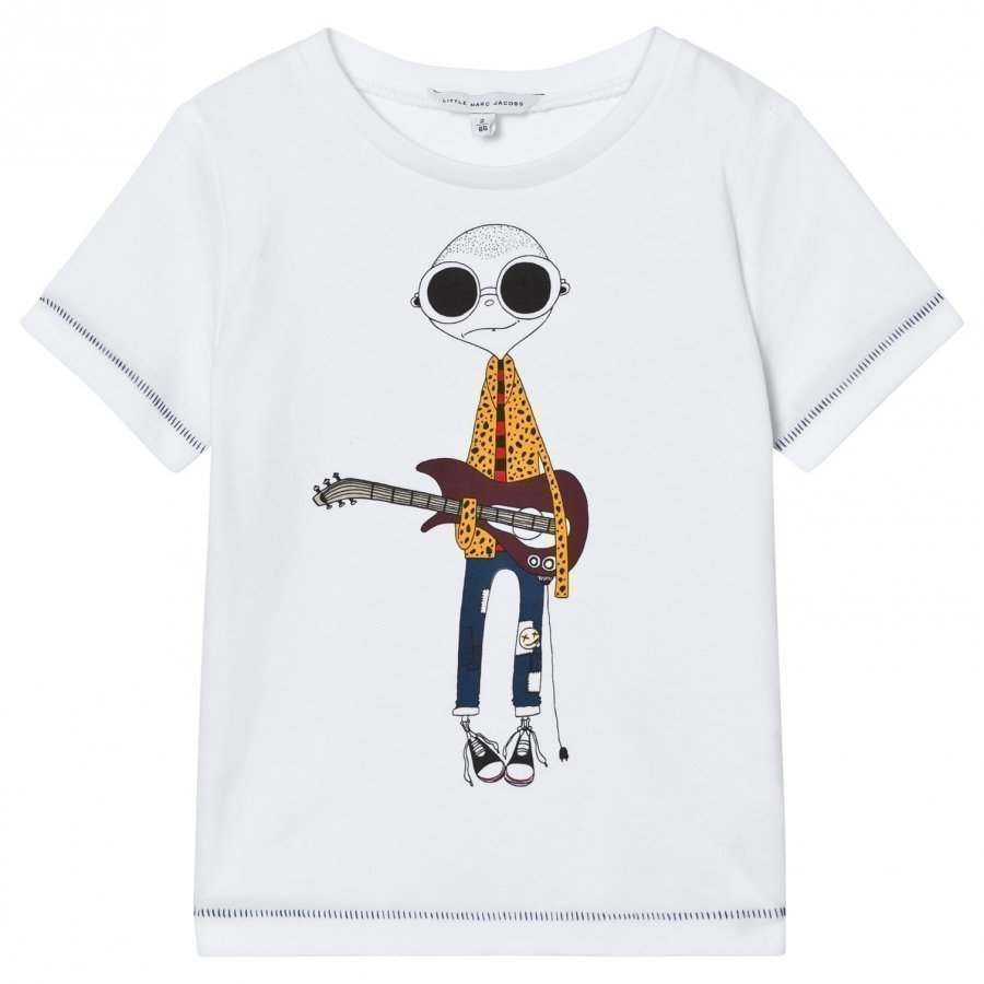 Little Marc Jacobs White Mr Marc Guitar Player Tee T-Paita