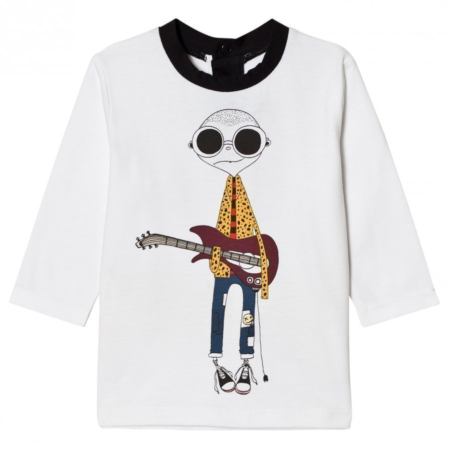 Little Marc Jacobs White Mr Marc Guitar Print Long Sleeve Tee T-Paita