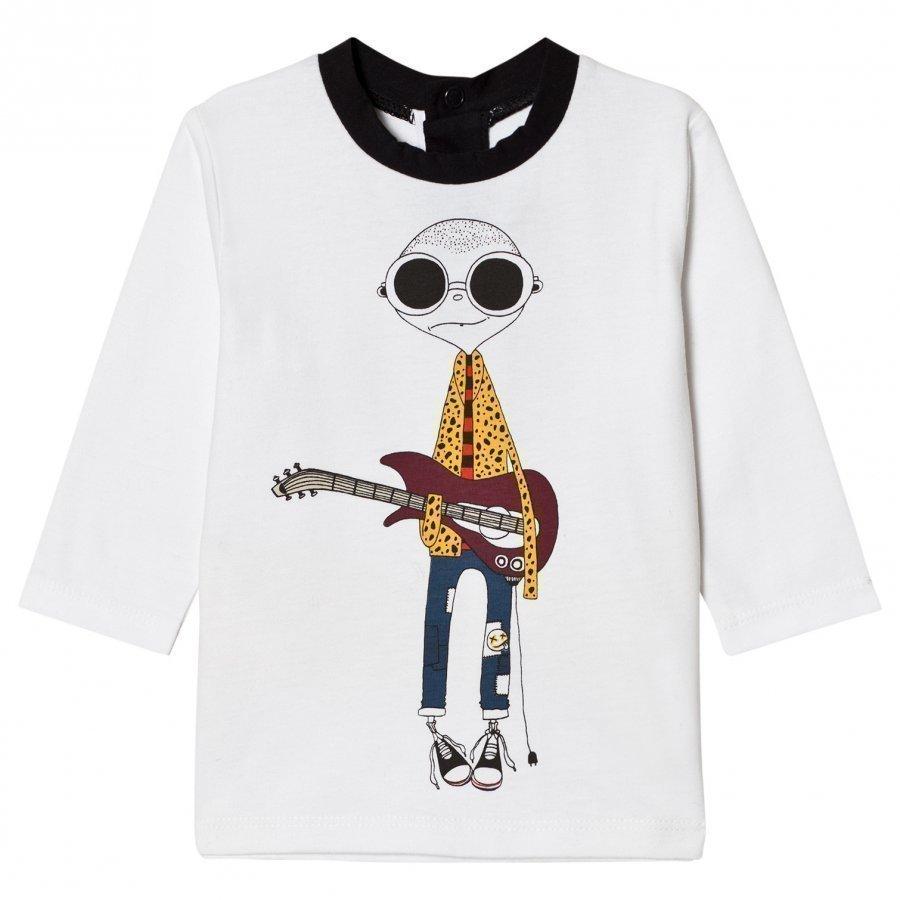 Little Marc Jacobs White Mr Marc Guitar Print Long Sleeve Tee T-Paita