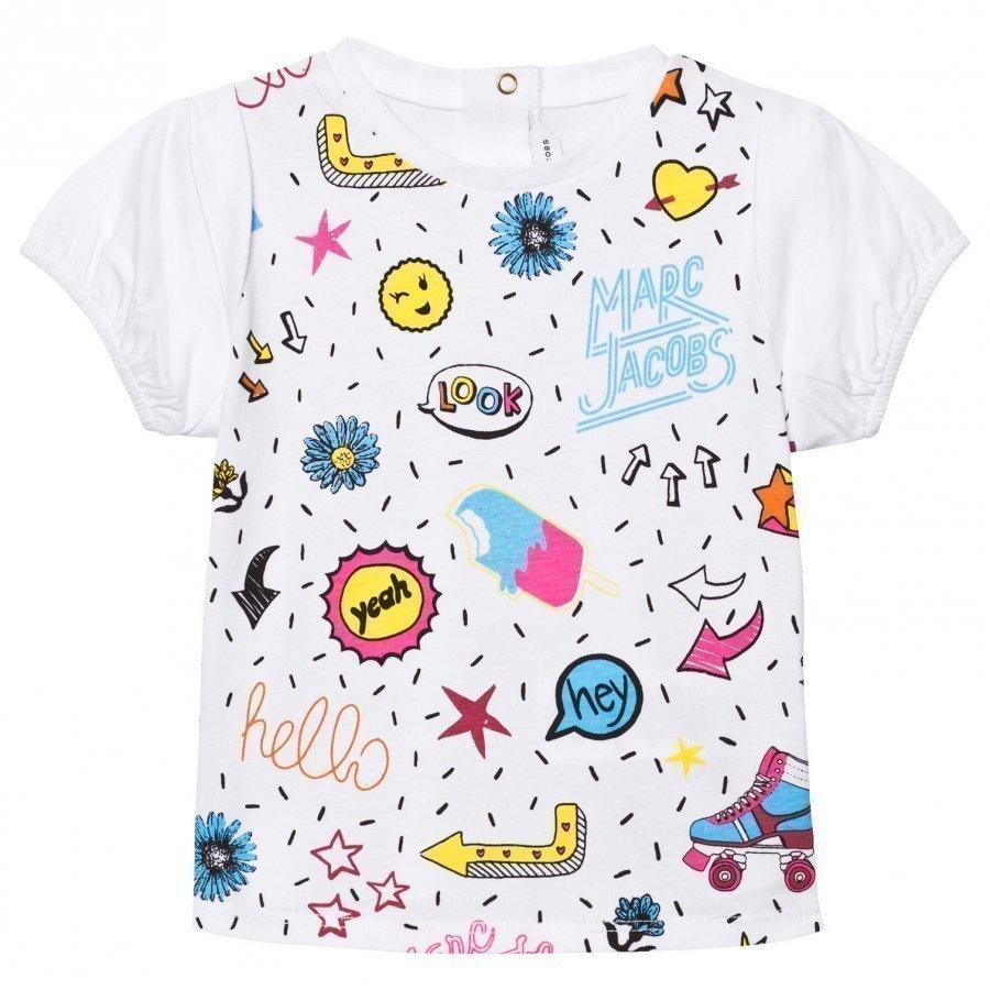 Little Marc Jacobs White Multi Colour Graphics Print Tee T-Paita