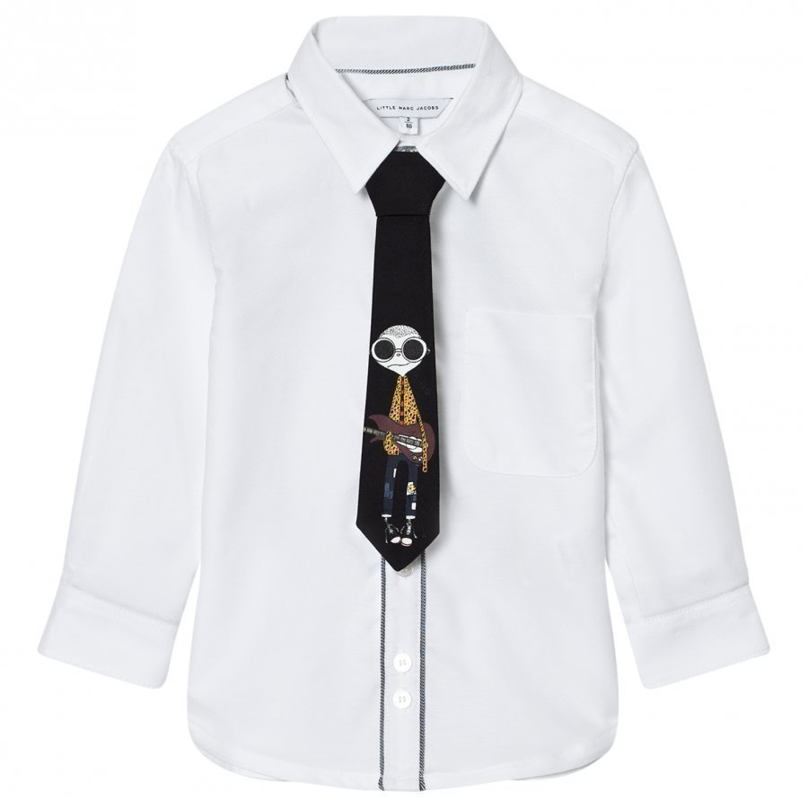 Little Marc Jacobs White Shirt With Mr Marc Print Tie Kauluspaita