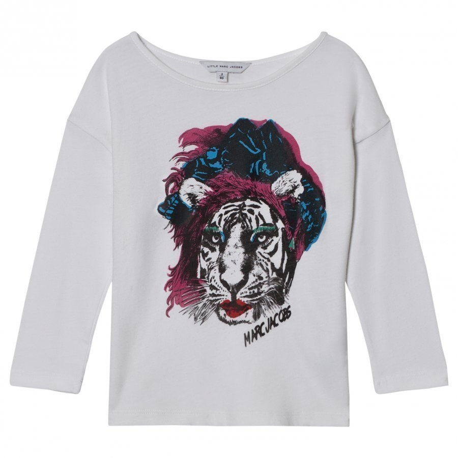 Little Marc Jacobs White Tiger Print Tee T-Paita