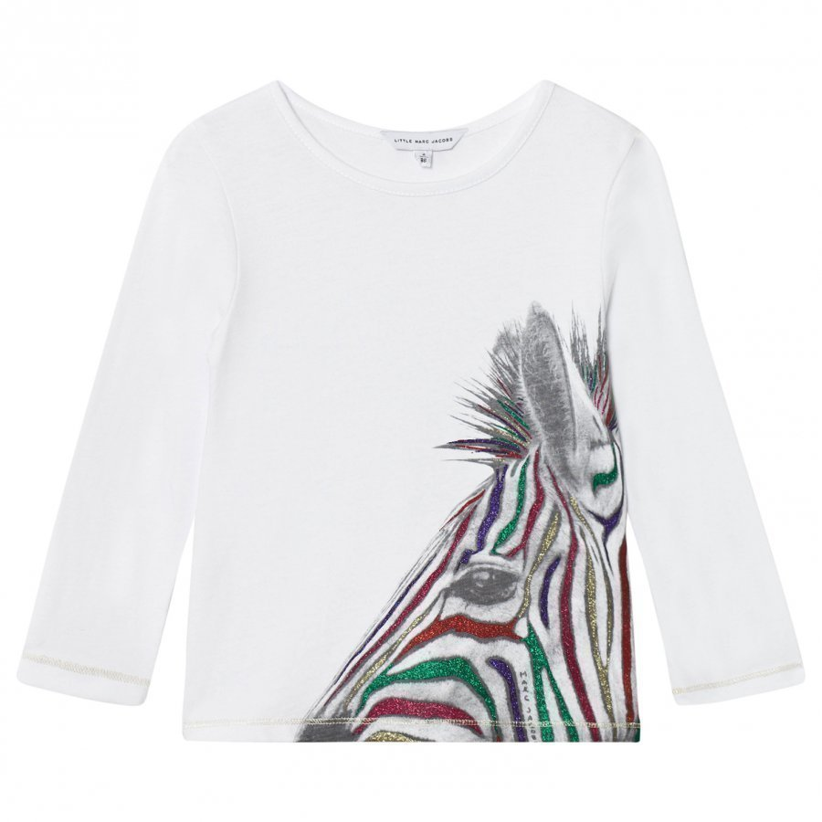 Little Marc Jacobs White Zebra Sequin Print Tee T-Paita