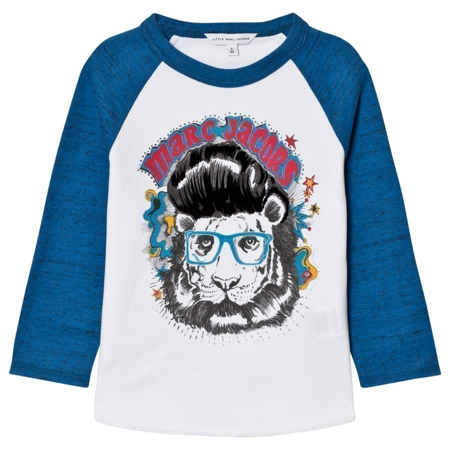 Little Marc Jacobs White/Blue Marc Tiger Print Tee T-Paita