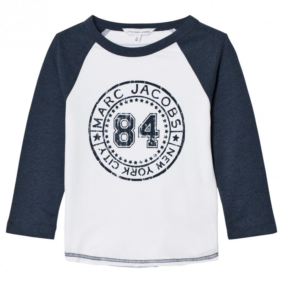 Little Marc Jacobs White/Blue Raglan Branded Tee T-Paita