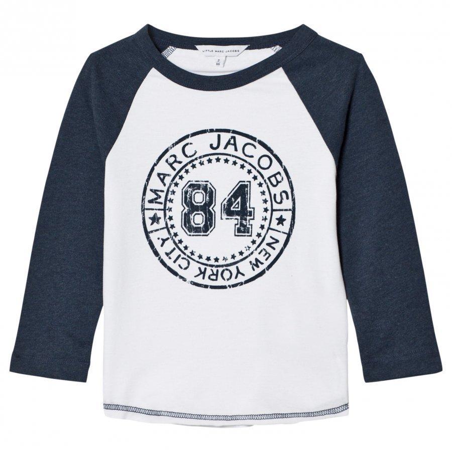 Little Marc Jacobs White/Blue Raglan Branded Tee T-Paita