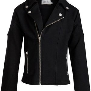 Little Pieces Collegepusero Biker Jacket Ticka Black
