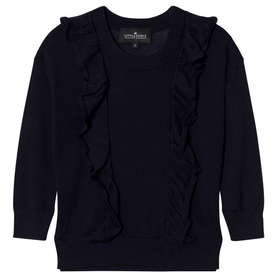 Little Remix Aza Merino Wool Ruffle Sweater Navy Oloasun Paita