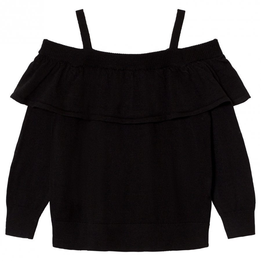 Little Remix Aza Ruffle Off Shoulder Sweater Black Oloasun Paita