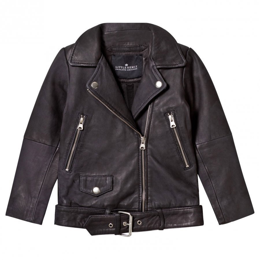 Little Remix Jr Aida Fringe Leather Jacket Black Nahkatakki