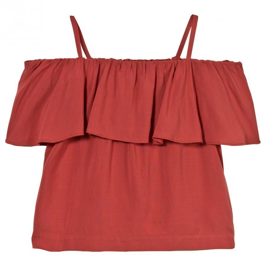Little Remix Rion Ruffle Top Dusty Red Pusero
