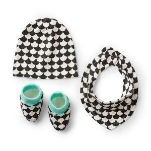 Littlephant Waves Baby Jersey Accessory Kit Vauva Setti Valkoinen / Musta