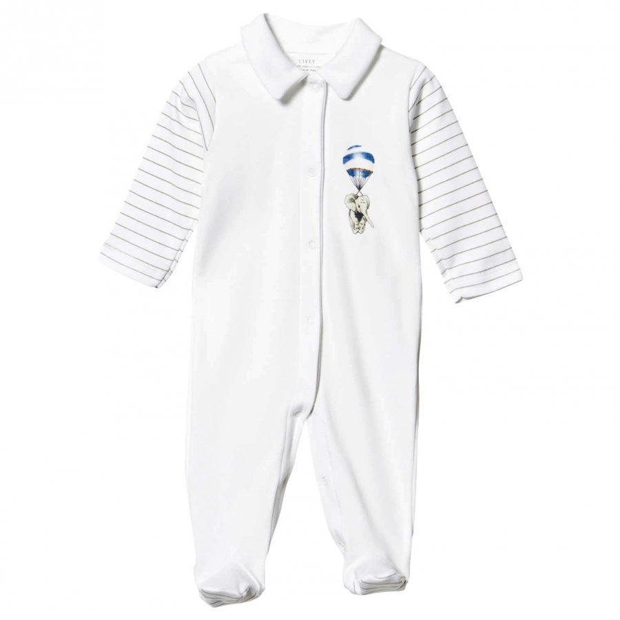 Livly Collar Footed Baby Body White Blue Elephant Body