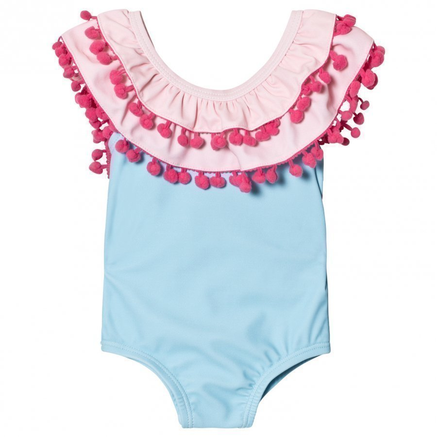 Livly Doubled Ruffled One-Piece Bathing Suit Yucca Pink Solid Uimapuku