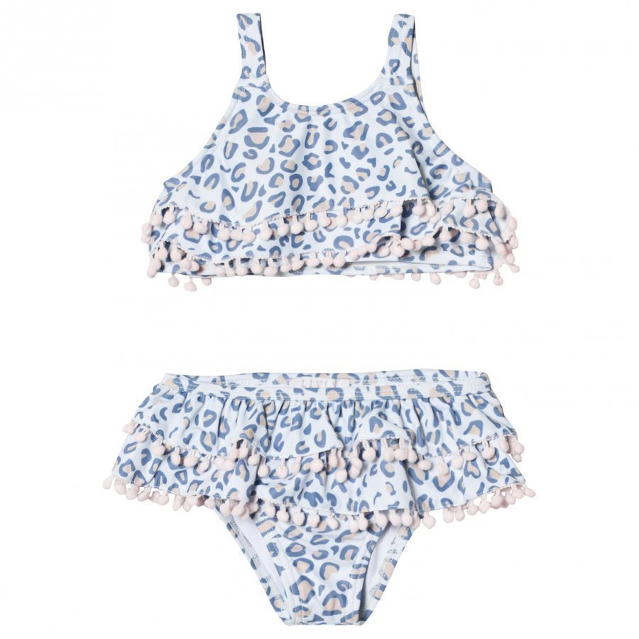Livly Ruffled Bikini Leo Print Blue Bikinit