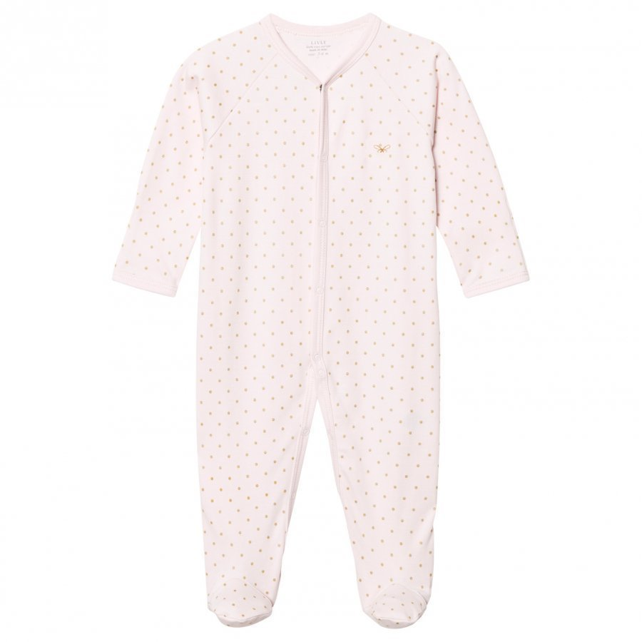 Livly Saturday Simplicity Footed Baby Body Pink/Gold Dots Body
