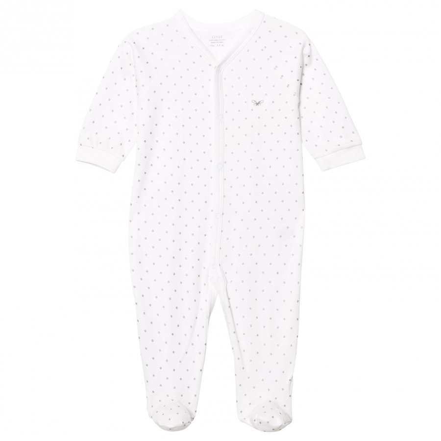Livly Saturday Simplicity Footed Baby Body White/Silver Dots Body