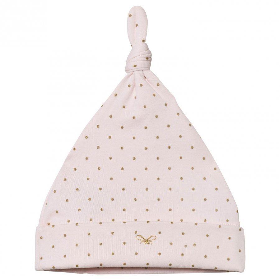 Livly Saturday Tossie Hat Baby Pink/Gold Dots Hattu Huivi Ja Hanskat Setti