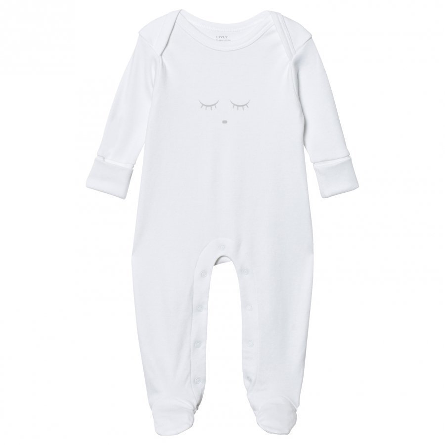 Livly Sleeping Cutie Cover Footed Baby Body White/Grey Body