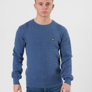 Lyle & Scott Cable Knit Jumper Storm Neule Sininen