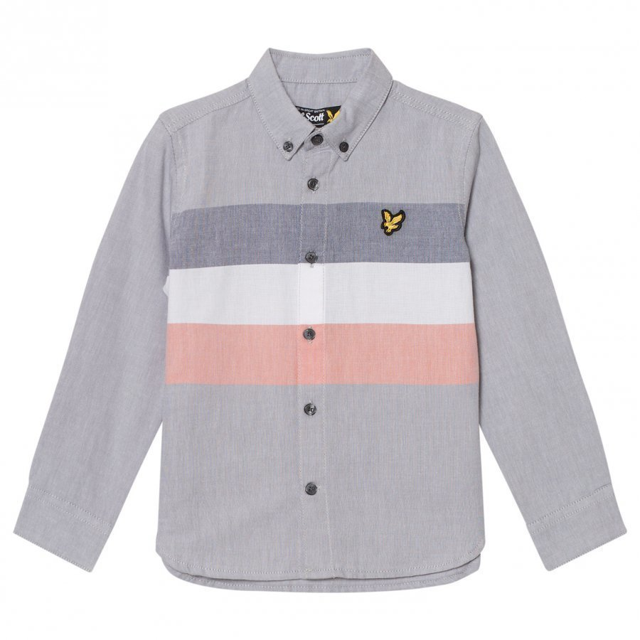 Lyle & Scott Grey Yarn Dye Stripe Shirt Kauluspaita