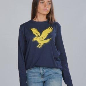 Lyle & Scott L/S Eagle Logo T Shirt T-Paita Sininen