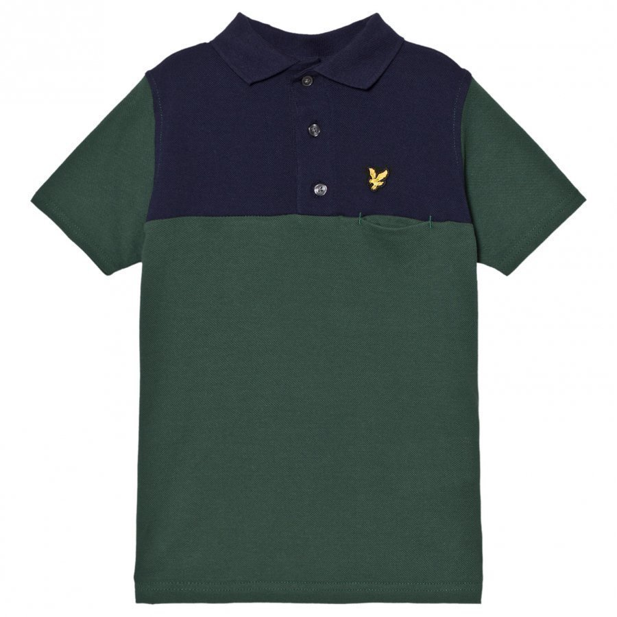 Lyle & Scott Musk Green Colour Block Polo T-Paita