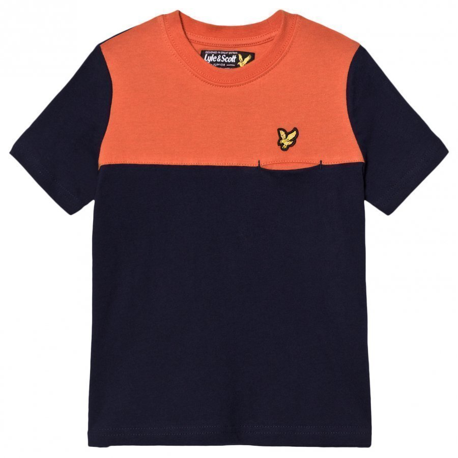 Lyle & Scott Navy Colour Block T Shirt T-Paita