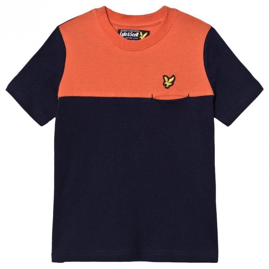 Lyle & Scott Navy Colour Block T Shirt T-Paita