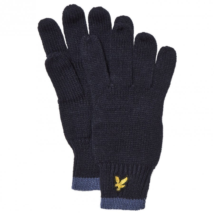 Lyle & Scott Navy Knitted Gloves Villahanskat