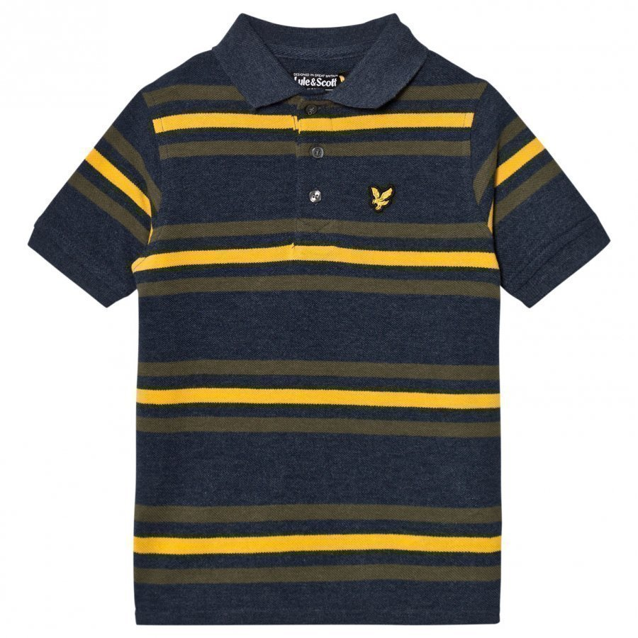 Lyle & Scott Navy Marl Stripe Polo T-Paita