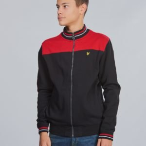 Lyle & Scott Tipped Funnel Neck Sweat Jacket Neule Musta