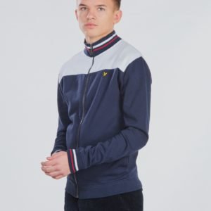 Lyle & Scott Tipped Funnel Neck Sweat Jacket Neule Sininen