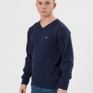 Lyle & Scott V Neck Jumper Neule Sininen